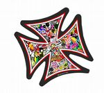 IRON CROSS With Multi Colour JDM Style Stickerbomb Motif External Vinyl Car Sticker 95x95mm